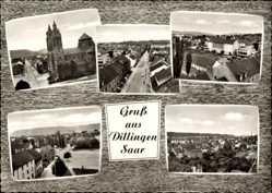 Postcard Dillingen im Kreis Saarlouis, Straßenpartie, Kirche, Totalansicht
