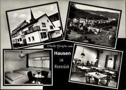 Postcard Hausen im Hunsrück, Pension Auner Fellenzer, Innenansicht, Ort