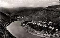 Postcard Ellenz Poltersdorf Mosel, Vogelschau auf den Ort mit Fluss im Tal