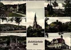 Postcard Waldböckelheim Nahe, Kirche, Rathaus, Burgruine