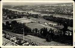 Postcard Koblenz in Rheinland Pfalz, Blick auf das Stadion, Fluss, Terrasse