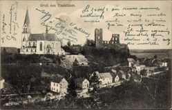 Postcard Kastellaun im Rhein Hunsrück Kreis, Blick auf den Ort, Kirche, Ruine