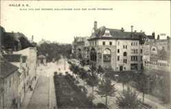Ak Halle an der Saale, Blick von der großen Wallstraße nach der alten Promenade