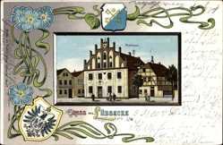 Passepartout Wappen Litho Lübbecke in Ostwestfalen, Blick auf das Rathaus