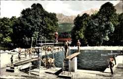 Postcard Unterstein Schönau Königssee, Schwimmbad, Sprungbrett, Kehlstein, Hoher Göll