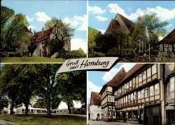 Postcard Homburg Schladen Werla in Niedersachsen, Fachwerkhaus, Kirche