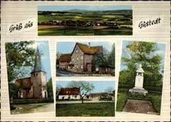 Postcard Gustedt Elbe, Bäckerei, Lebensmittel Behrens, Kirche, Schule, Ehrenmal