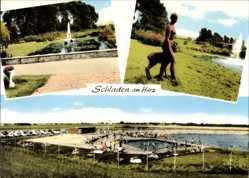 Postcard Schladen Werla in Niedersachsen, Statue, Fontäne, Freibad