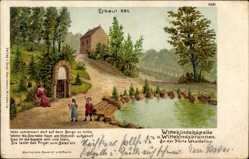 Künstler Litho Moelle, W., Porta Westfalica, Wittekindskapelle,Brunnen