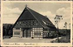 Postcard Vlotho in Nordrhein Westfalen, Blick auf das Jugendheim, Fachwerkhaus