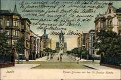 Postcard Halle an der Saale, Kaiser Straße mit der St. Paulus Kirche, Häuser