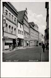 Postcard Minden in Ostwestfalen Lippe, Blick in die Bäckerstraße, Cafe, Schuh Bo