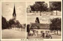 Postcard Maasdorf Südliches Anhalt, Kirche, Dorfteich, Kolonialwaren Karl Franke