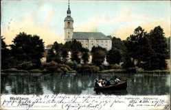 Ak Waldheim in Mittelsachsen, Kahnpartie mit Blick zur Stadtkirche