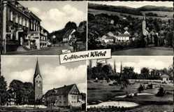 Postcard Wiehl im Oberbergischen Kreis, Blick auf den Ort, Mini Golfplatz, Kirche