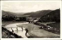 Postcard Nassau Frauenstein im Erzgebirge, Flusspartie, Brücken, Berge, Wald