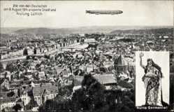 Postcard Liège Lüttich Wallonien, 8 August 1914, Zeppelin, Eroberte Stadt