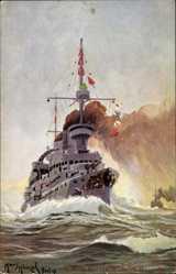 Künstler Ak Deutsches Kriegsschiff, SMS Kaiser Wilhelm II., Tuck 233 B