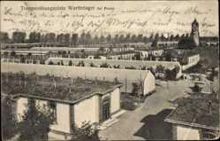 Postcard Poznań Posen, Truppenübungsplatz Warthelager, Baracken, Turm