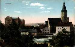 Postcard Döbeln in Mittelsachsen, Blick auf den Ort und die Kirche