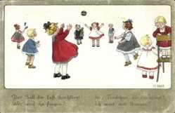 Künstler Ak Ebner, Pauli, Kinder spielen mit einem Ball