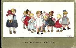 Künstler Ak Ebner, Pauli, Heureuse Année, Kinder spielen, Neujahr