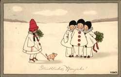 Künstler Ak Ebner, Pauli, Glückwunsch Neujahr, Pierrot, Schwein