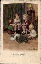 Künstler Ak Ebner, Pauli, Kinder erzählen Geschichte, Puppe, Spielzeug