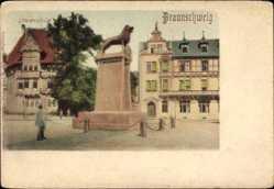 Postcard Braunschweig in Niedersachsen, Blick auf die Löwensäule, Platz, Häuser