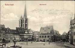 Postcard Halberstadt in Sachsen Anhalt, Blick auf den Holzmarkt, Brunnen