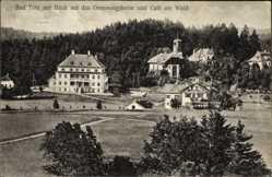 Postcard Bad Tölz im Isartal Oberbayern, Blick auf das Genesungsheim und Cafe am Wald