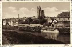 Postcard Diez im Rhein Lahn Kreis Rheinland Pfalz, Flusspartie, Schloss, Flussdampfer