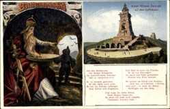 Gedicht Ak Kyffhäuserland Thüringen, Kaiser Wihelm Denkmal, Barbarossa