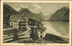 Postcard Fjaerland Sogn Norwegen, Mundals Hotel, Fjordblick