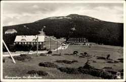 Postcard Riesengebirge Schlesien, Am Spindlerpass, Weg hoch zum Berg, Jugendkammhaus