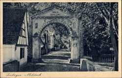 Postcard Milicz Militsch Schlesien, Torbogen, Durchblick, Häuser