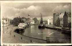 Postcard Klaipėda Memel Ostpreußen, Börse und Hochhaus, Schiffe