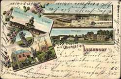 Litho Łambinowice Lamsdorf Schlesien, Wellblechlager, Kasino, Zieldorf