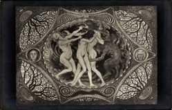 Jugendstil Ak Fidus, Durch die Unterwelt 1896, Kohlefoto