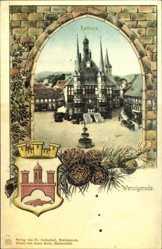 Passepartout Wappen Ak Wernigerode am Harz, Blick auf das Rathaus