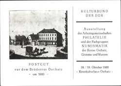 Ak Oschatz in Nordsachsen, Ausstellung Postgut vor dem Brüdertor,Kreiskulturhaus