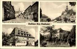 Ak Dahlen im Kreis Nordsachsen, Bahnhofstraße, Rathaus, Marktplatz, Schloss