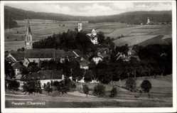 Postcard Pleystein in der Oberpfalz Bayern, Totalansicht der Ortschaft, Kirche