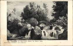 Künstler Ak Richter, Ilsenburg am Nordharz Richter, L., Ilsenfälle im Jahre 1838