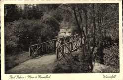 Ak Polczyn Zdrój Bad Polzin Pommern, Wasserfall, Holzbrücke
