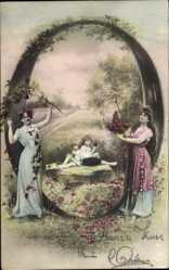 Buchstaben Ak Buchstabe O, Kinder sitzen auf einem Stein, zwei Frauen, NPG 195