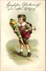 Präge Litho Glückwunsch Einschulung, Junge mit Zuckertüte, Ranzen, EAS 15717