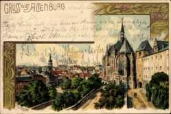 Künstler Litho Ak Spindler E., Altenburg in Thüringen, Blick auf den Ort, Kirche