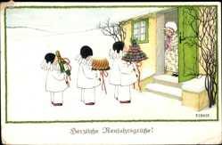 Künstler Ak Ebner, Pauli, Glückwunsch Neujahr, Kinder, Sektflasche, Winter