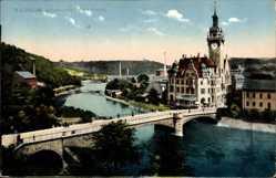 Postcard Waldheim Sachsen, Zschopautal mit Rathaus, Brücke